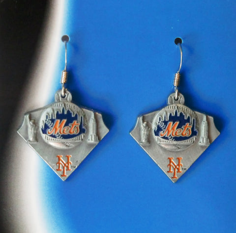New York Mets Dangle Earrings Licensed MLB Baseball Jewelry