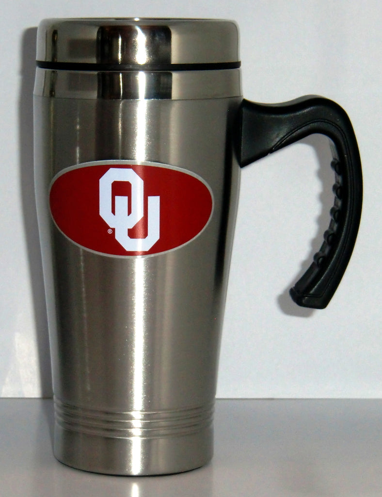 Oklahoma Sooners 14 oz Stainless Steel Travel Mug with Handle (NCAA)