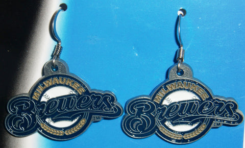 Milwaukee Brewers Dangle Earrings Licensed MLB Baseball