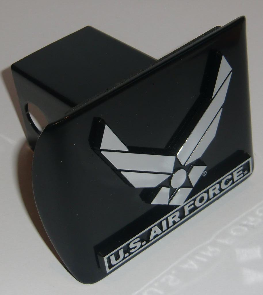U.S. Air Force Chrome Metal Black Hitch Cover (Wings)