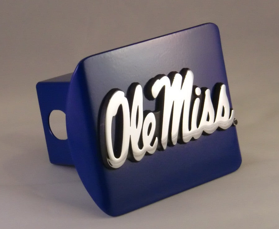 Ole Miss Rebels Chrome Metal Blue Hitch Cover (Script) NCAA