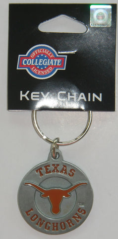 Texas Longhorns 3-D Metal Key Chain NCAA Licensed (Round)