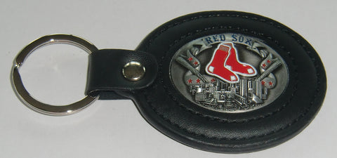 Boston Red Sox 3-D Metal Leather Key Chain MLB Licensed Baseball