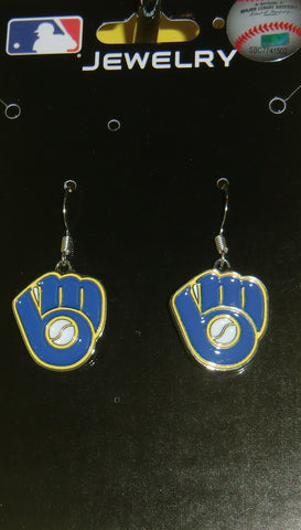 Milwaukee Brewers Dangle Earrings (chrome) MLB Licensed Baseball