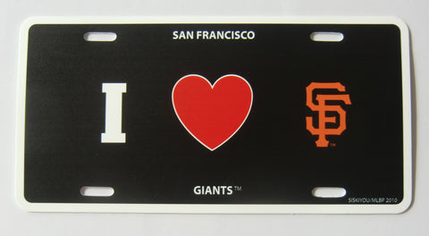 San Francisco Giants Styrene License Plate I Love (Heart) SF (MLB)