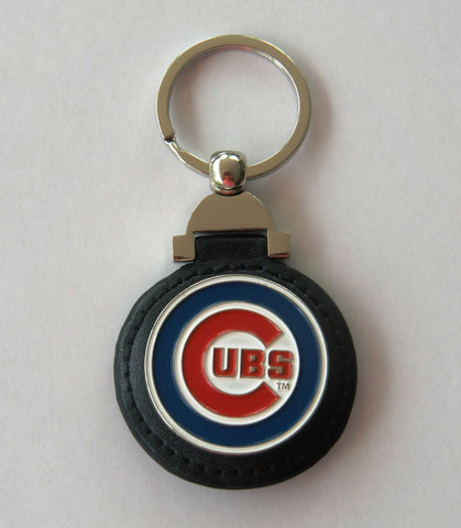 Chicago Cubs Round 3-D Metal & Leather Key Chain MLB Licensed Baseball