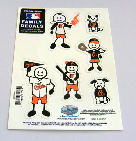 Baltimore Orioles Outdoor Rated Vinyl Family Decals MLB Baseball