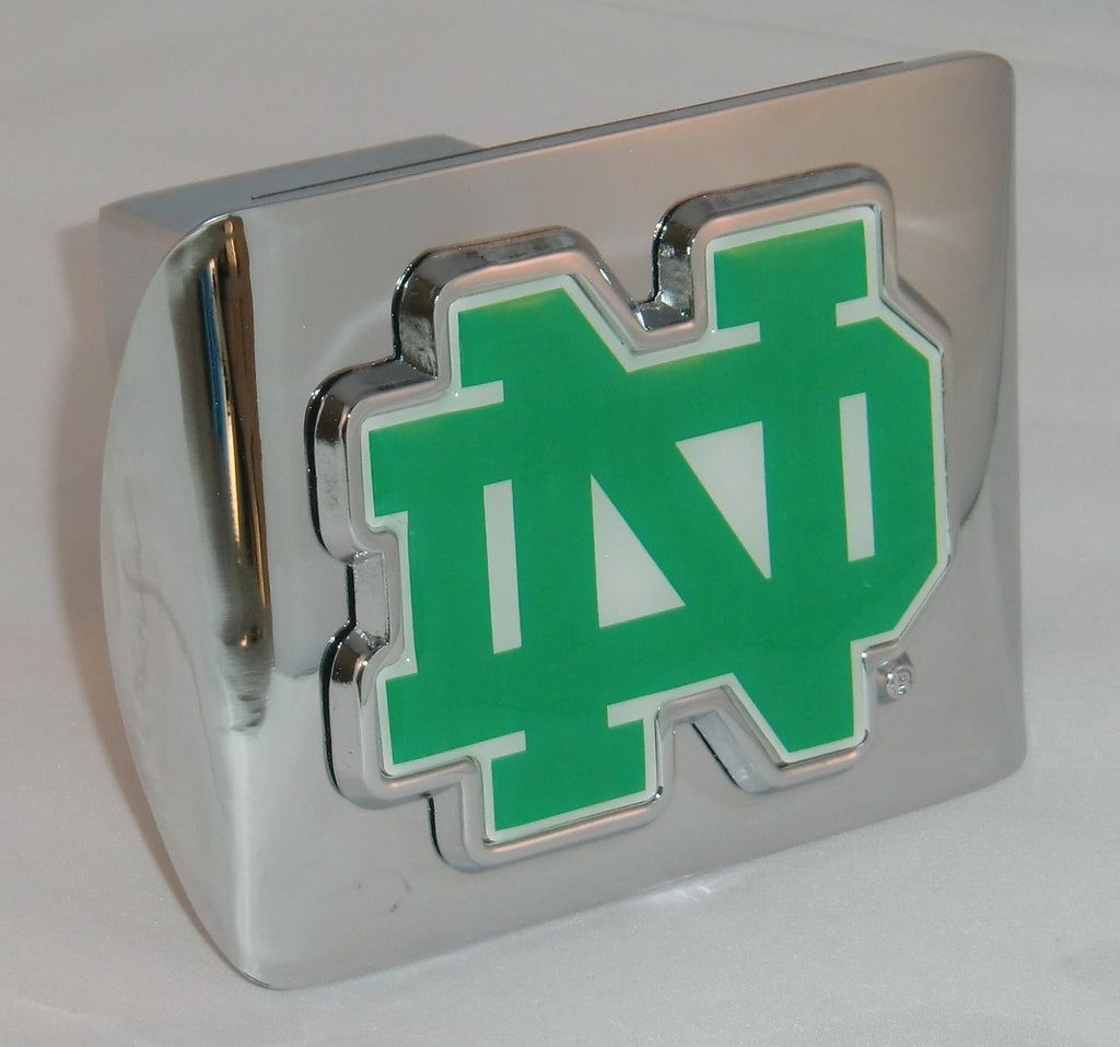 "Notre Dame Fighting Irish Shiny Chrome Metal Hitch Cover (""ND"" w/ Color) NCAA"