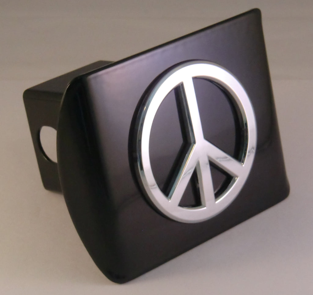 Peace Sign Chrome Metal Black Hitch Cover