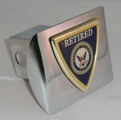 U.S. Navy Shiny Chrome Metal Hitch Cover (Retired Shield) Military Licensed