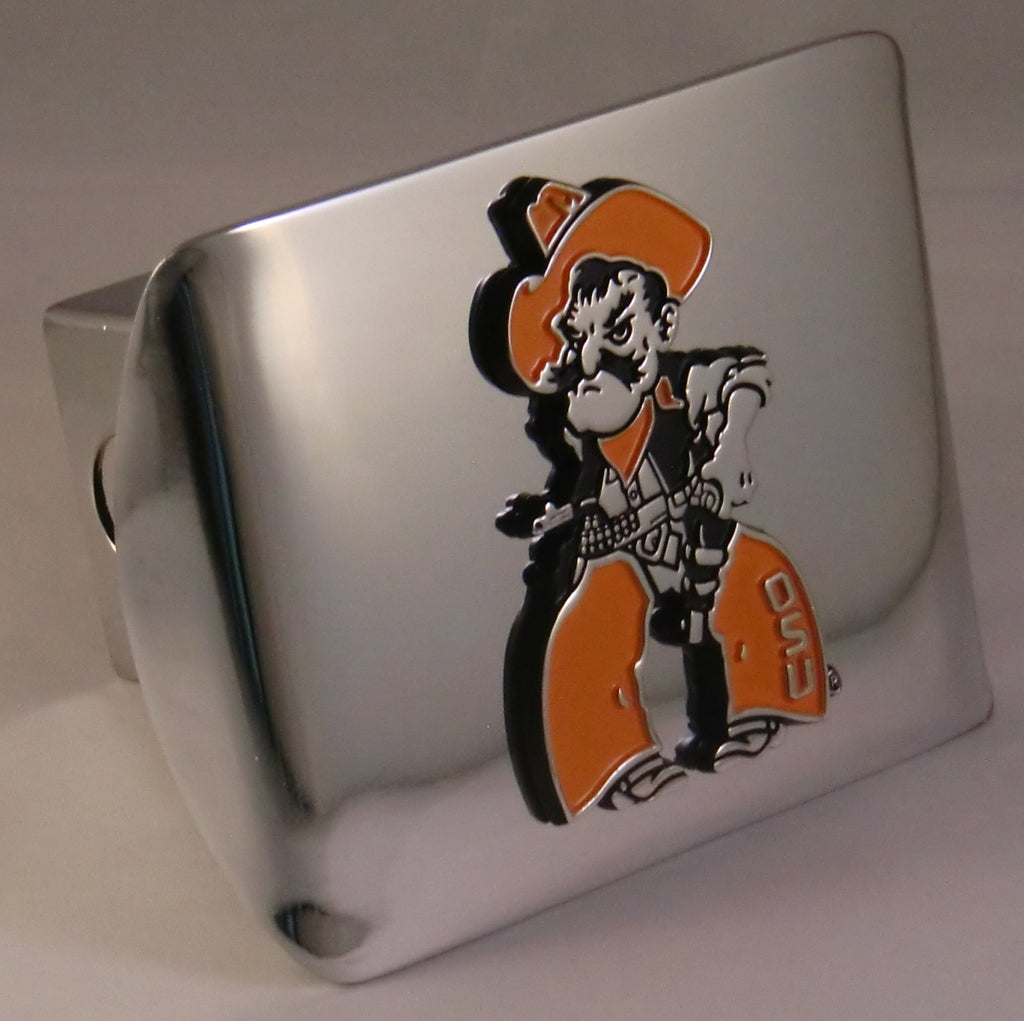 Oklahoma State Cowboys Shiny Chrome Metal Hitch Cover (Pistol Pete) NCAA