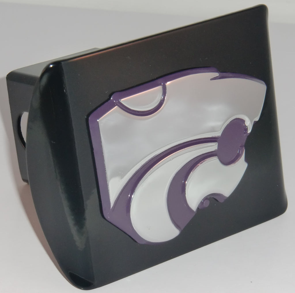 Kansas State Wildcats Chrome Metal Black Hitch Cover (Purple Powercat) NCAA