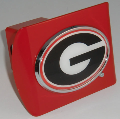 "Georgia Bulldogs Chrome Metal Red Hitch Cover (""G"" w/ Color) NCAA"