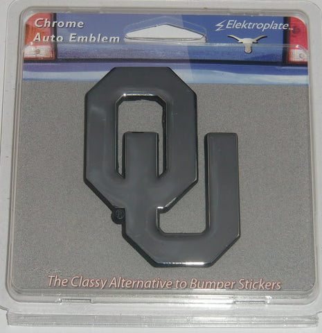 "Oklahoma Sooners Chrome Metal Auto Emblem (""OU"" w/ Black Outline) NCAA"
