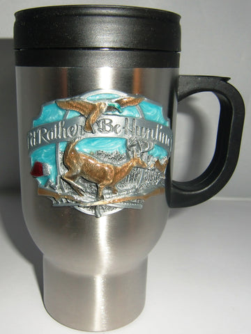 I'd Rather Be Hunting 14 oz Travel Mug with Handle (Outdoor Life)