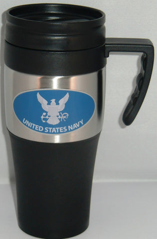 U.S. Navy 14 oz Two Toned Travel Mug with Handle (Military)