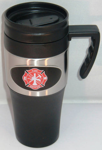 Fire Fighter 14 oz Two Toned Travel Mug with Handle (Occupational)