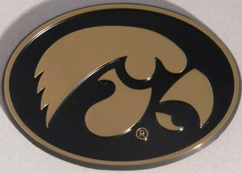 Iowa Hawkeyes Chrome Metal Auto Emblem (Black & Gold Oval) NCAA