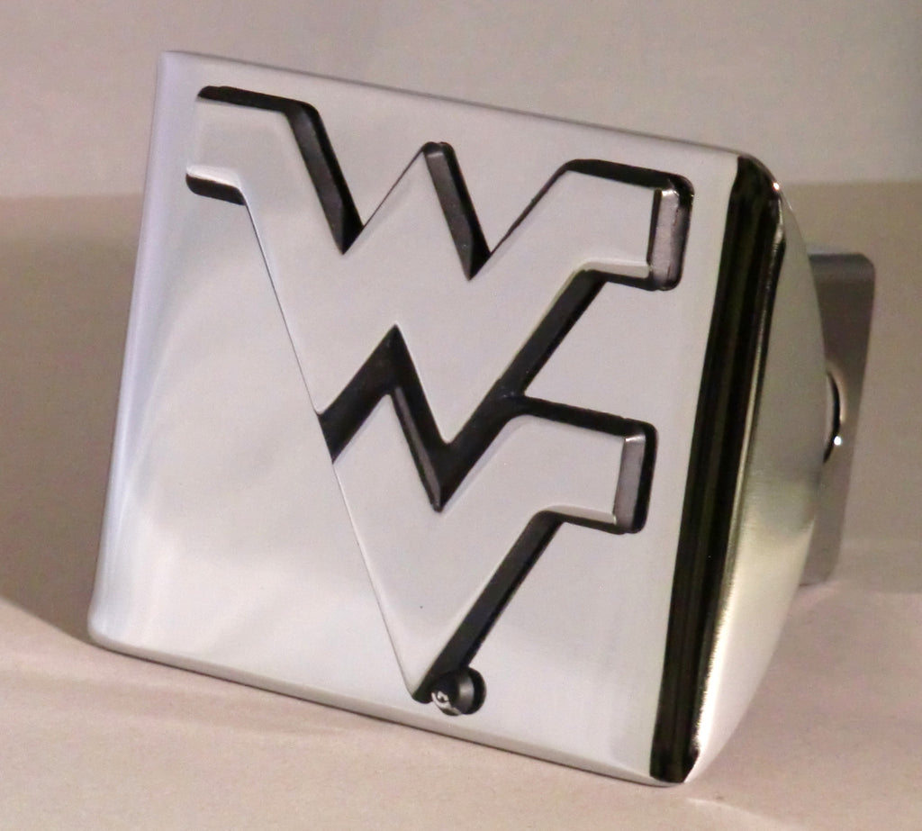 "West Virginia Mountaineers Shiny Metal Hitch Cover (""WV"") NCAA Licensed"