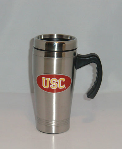 USC Trojans 14 oz Stainless Steel Travel Mug with Handle NCAA Licensed