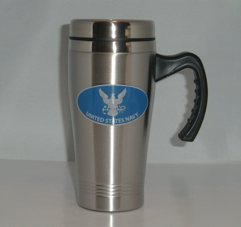 U.S. Navy 14 oz Stainless Steel Travel Mug with Handle (Military)