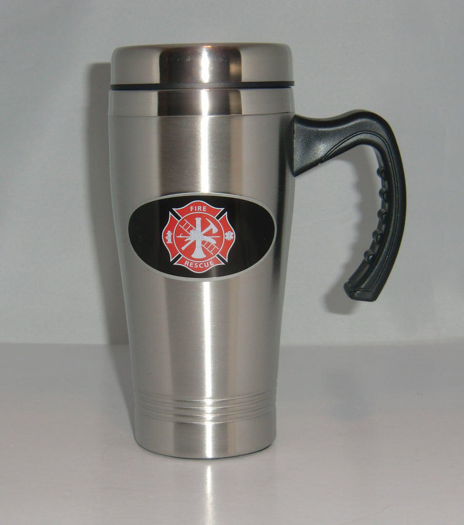 Fire Fighter Department Rescue 14 oz Stainless Steel Travel Mug with Handle (Occupational)