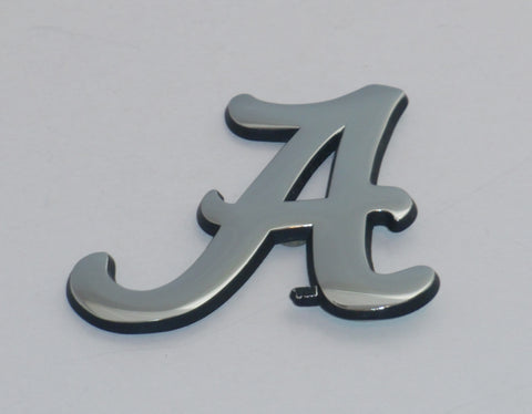 "Alabama Crimson Tide Chrome Metal Auto Emblem (Script ""A"" w/Black) NCAA"