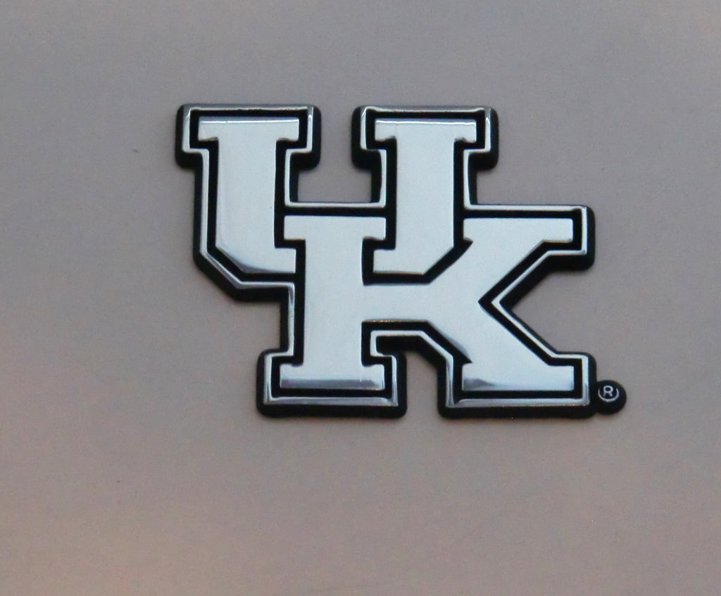 "Kentucky Wildcats Chrome Metal Auto Emblem (""UK"") NCAA"