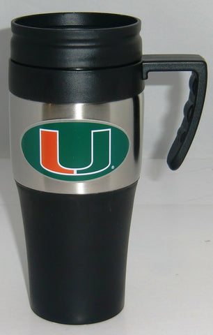Miami Hurricanes 14 oz Two Toned Travel Mug with Handle (NCAA)