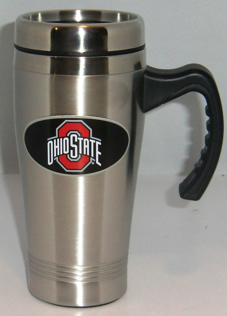 Ohio State Buckeyes 14 oz Stainless Steel Travel Mug with Handle (NCAA)