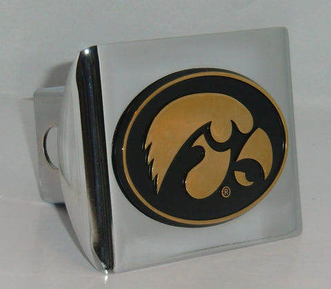 Iowa Hawkeyes Shiny Chrome Metal Hitch Cover (Gold Tiger Hawk) NCAA