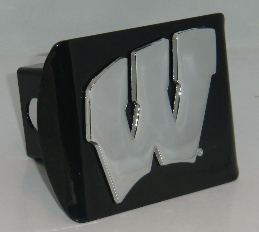 "Wisconsin Badgers Chrome Metal Black Hitch Cover (""W"") NCAA Licensed"