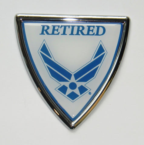 U.S. Air Force Chrome Metal Auto Emblem (Retired Shield) USAF Licensed