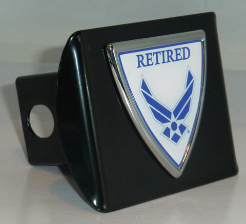 U.S. Air Force Chrome Metal Black Hitch Cover (Retired Shield)