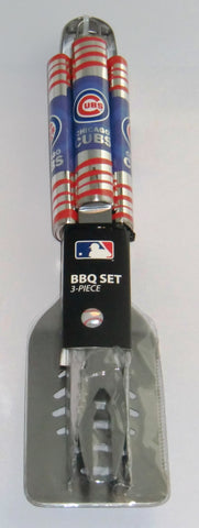 Chicago Cubs 3 Piece Stainless Steel BBQ Tool Set Tailgating MLB Baseball