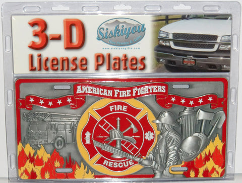 Fire & Rescue American Fire Fighters 3-D Metal License Plate (Occupational)