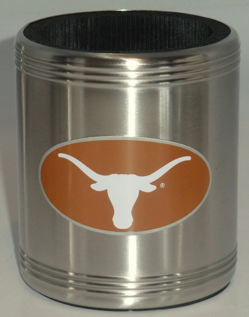 Texas Longhorns Insulated Stainless Steel Can Cooler Coozie NCAA Licensed