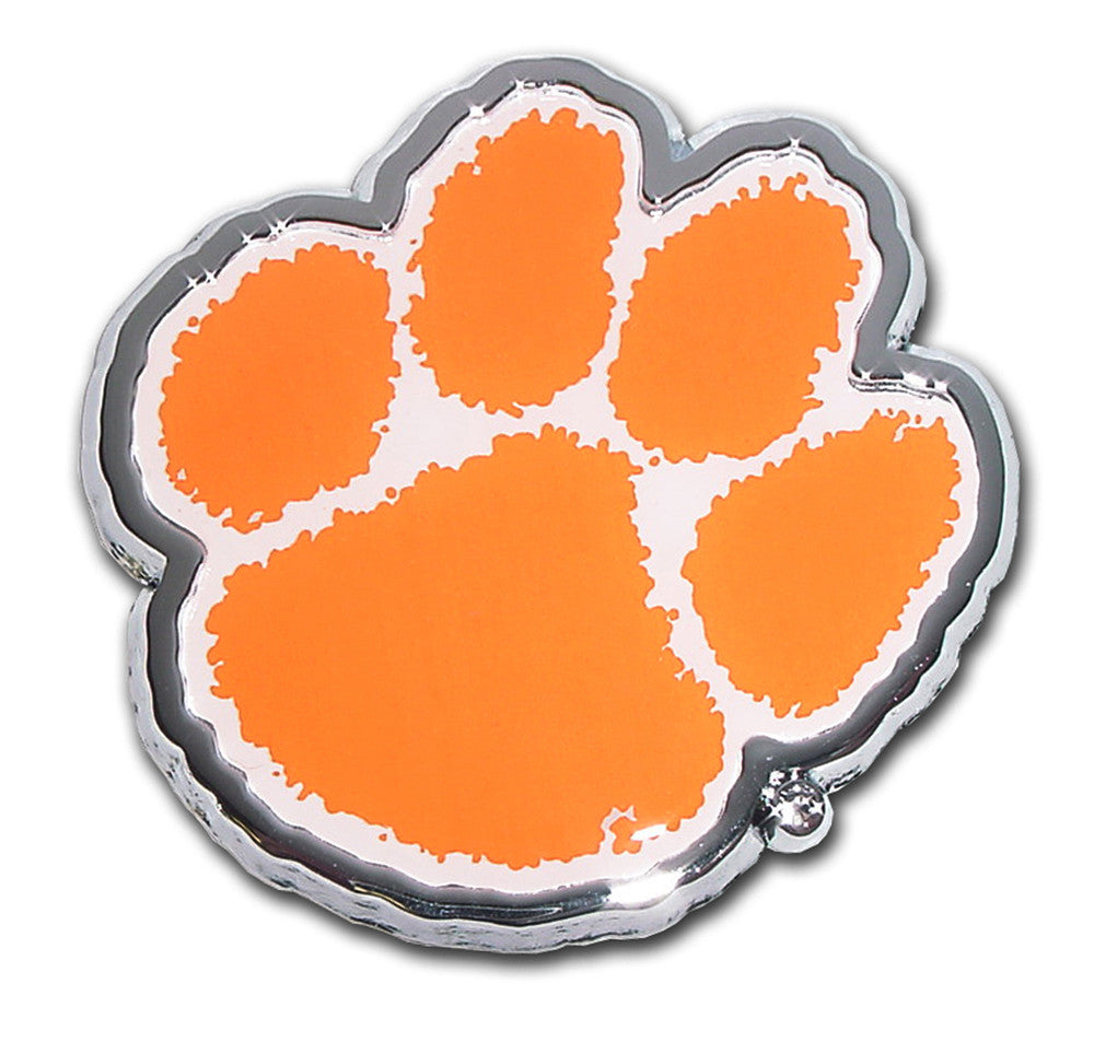 Clemson Tigers Chrome Metal Auto Emblem (Paw with Color) NCAA