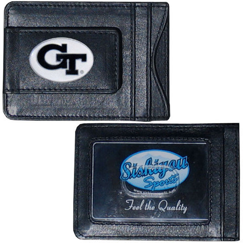 Georgia Tech Yellowjackets Fine Leather Money Clip (NCAA) Card & Cash Holder