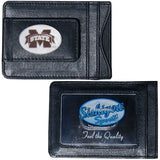 Mississippi State Bulldogs Fine Leather Money Clip (NCAA) Card & Cash Holder (Oval)