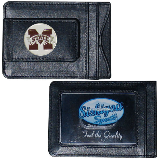 Mississippi State Bulldogs Fine Leather Money Clip (NCAA) Card & Cash Holder (Round)