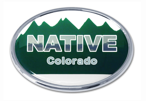 Colorado Native State Flag Chrome Auto Emblem (Oval)