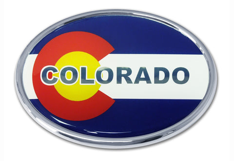 "Colorado State Flag Chrome Auto Emblem (Oval) ""CO"""