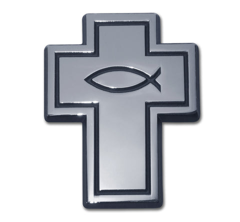 Cross Chrome Auto Emblem (Cross With Fish)
