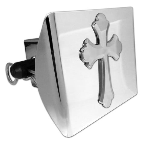 Cross Shiny Chrome Plastic Hitch Cover (Ruffled)