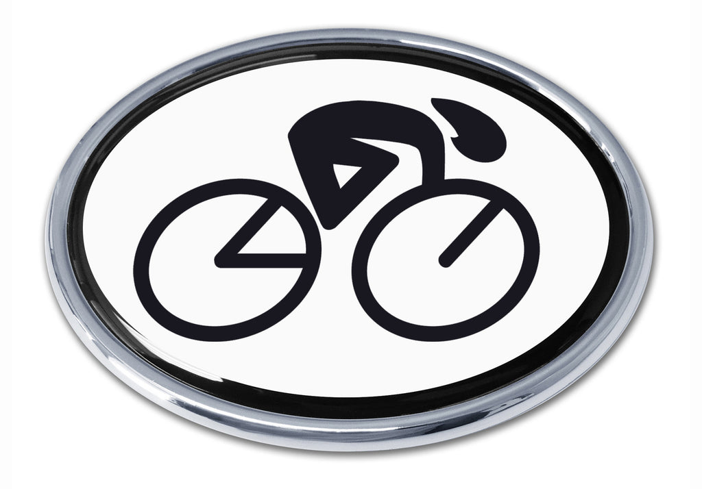 Cycling Chrome Metal Auto Emblem (Oval)