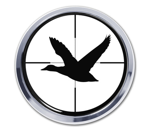 Hunting Chrome Metal Auto Emblem (Duck Crosshairs Target) (Round)