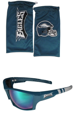 Philadelphia Eagles Edge Wrap Sunglasses with Microfiber Bag (NFL)