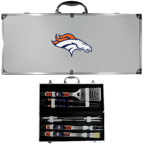 Denver Broncos 8 Piece Tailgater BBQ Set with Case (NFL Football)