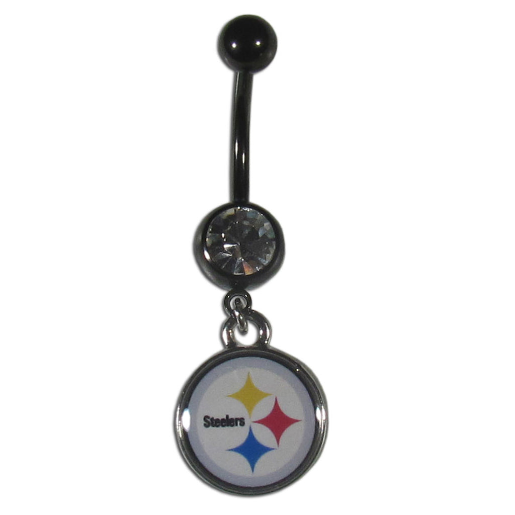 Pittsburgh Steelers Navel Belly Ring with Dangle Charm (Logo) NFL